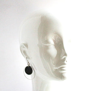 Jazmine Small Leather Earrings - Black