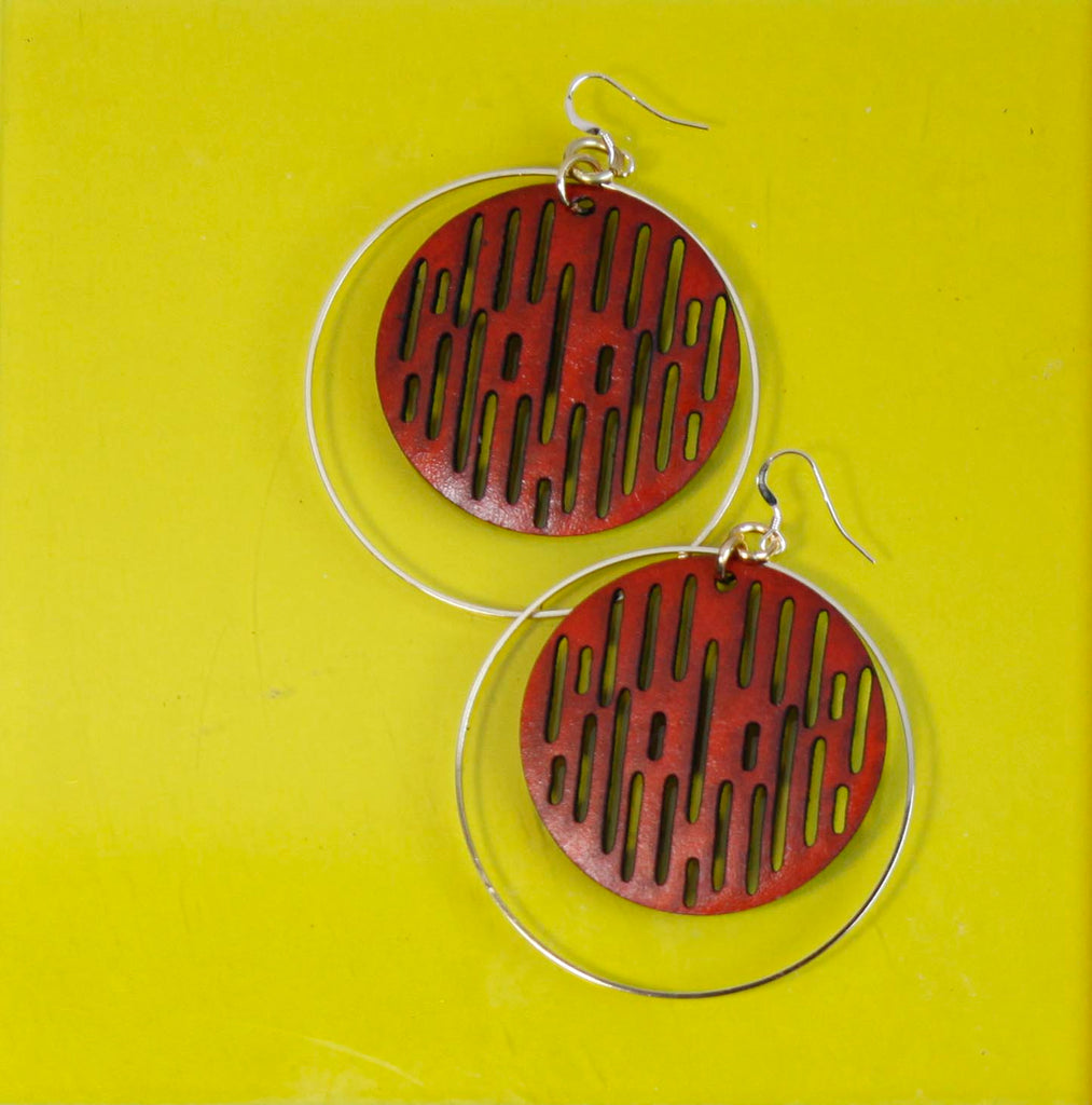 Jazmine Large Leather Earrings - Rust - Amber Poitier Inc.