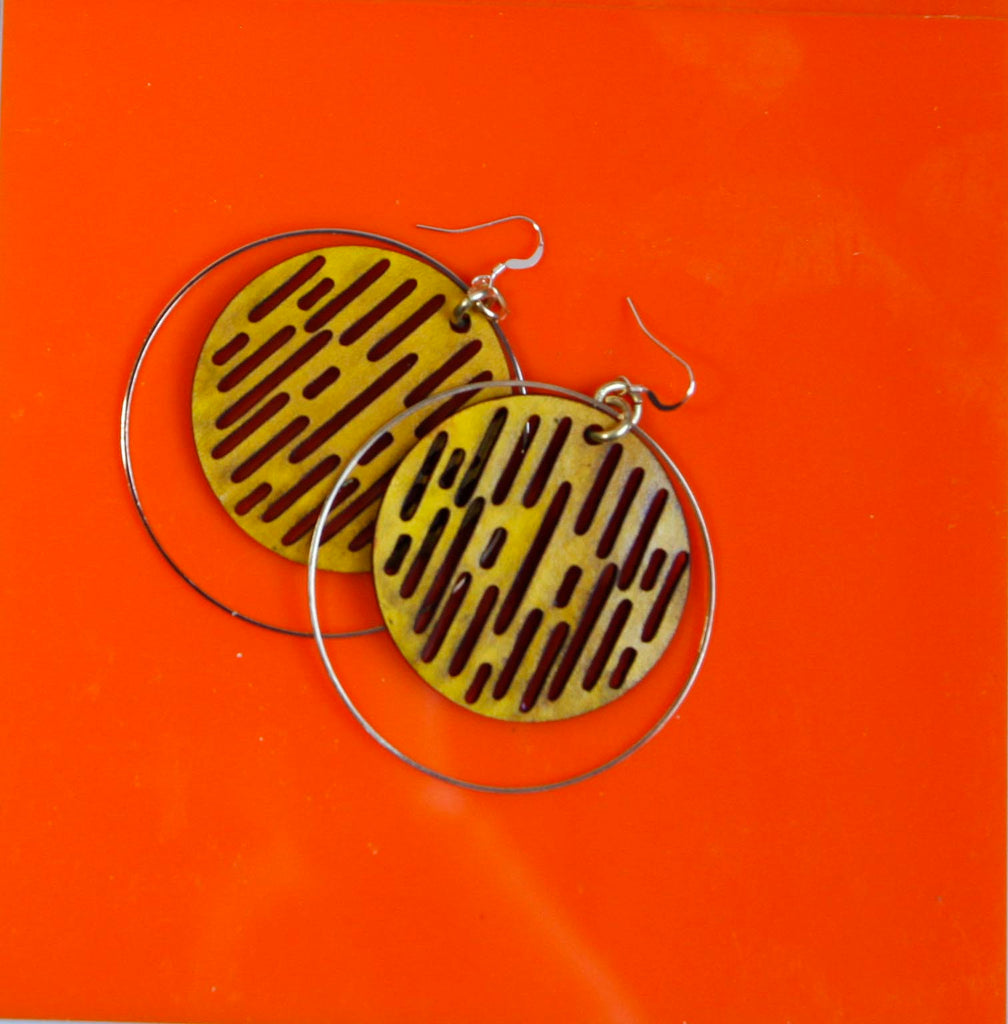 Jazmine Large Leather Earrings - Yellow Ochre - Amber Poitier Inc.