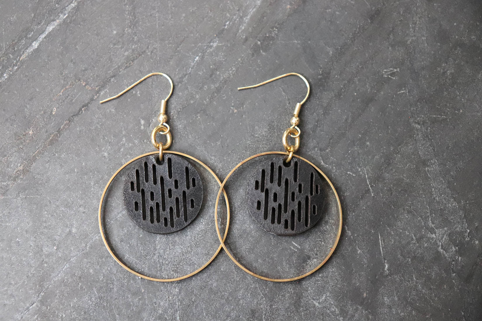 Jazmine Mini Leather Earrings - Black - Amber Poitier Inc.