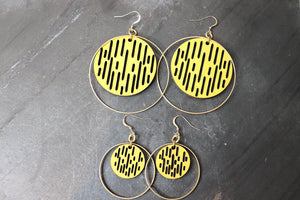Jazmine Large Leather Earrings - Lemon - Amber Poitier Inc.
