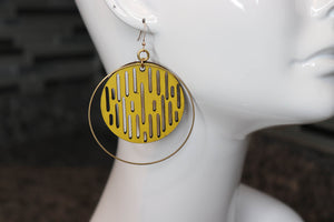 Jazmine Large Leather Earrings - Lemon