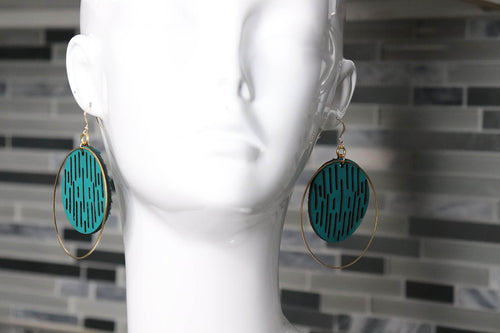 Jazmine Large Leather Earrings - Jade - Amber Poitier Inc.