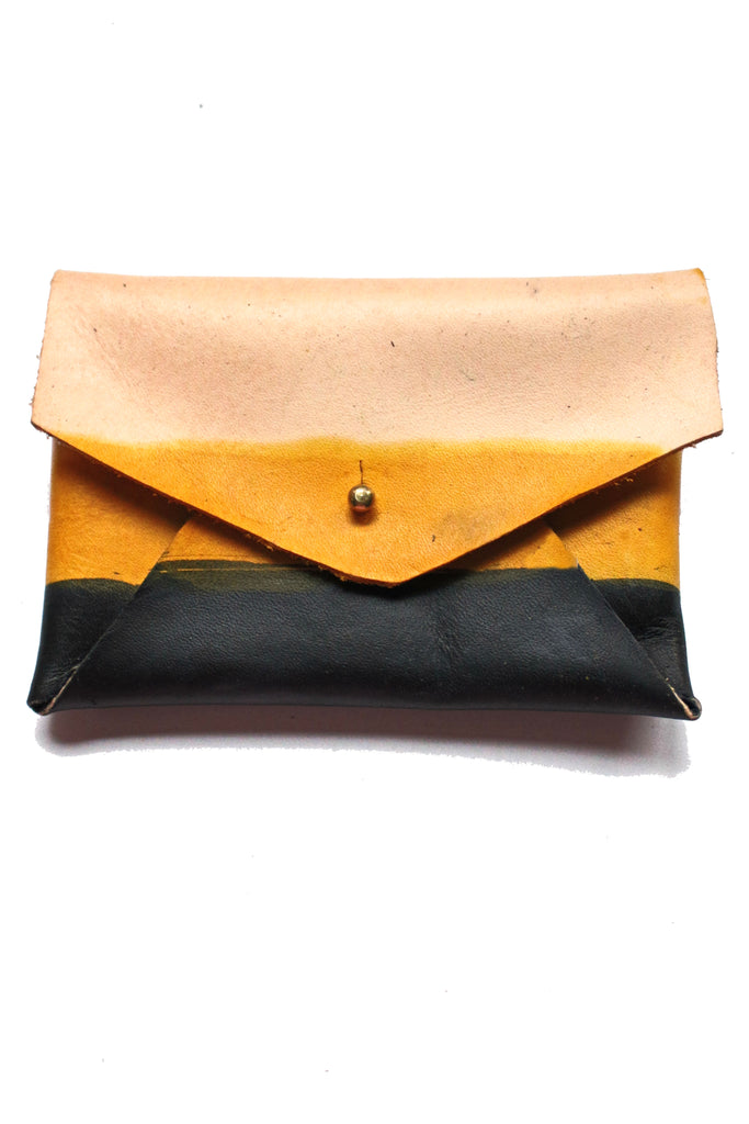 Jordan Leather Card Holder - Yellow Ochre  Black