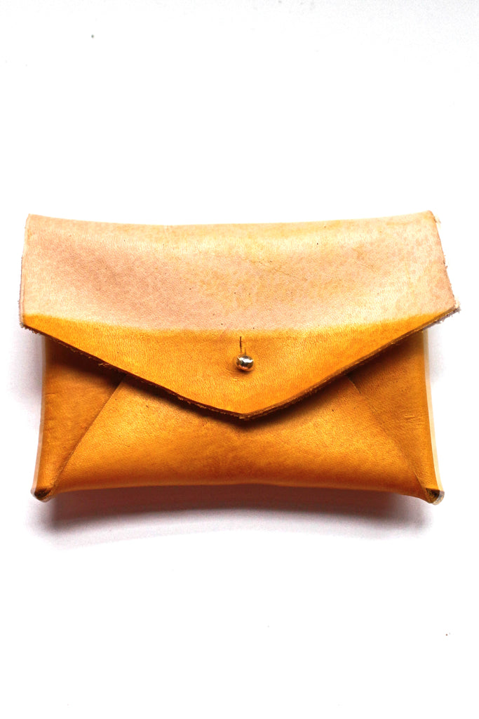 Jordan Leather Card Holder - Yellow Ochre Dip Dye