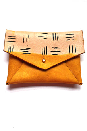 Jordan Leather Card Holder - Yellow Ochre Tribal Print