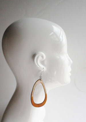 Lisa Large Leather Earrings Tan Dipped