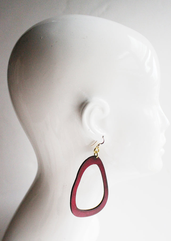 Lisa Large Leather Earrings Merlot