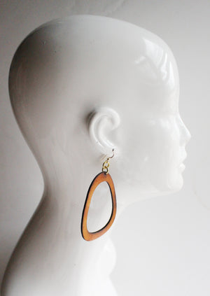 Lisa Large Leather Earrings Tan