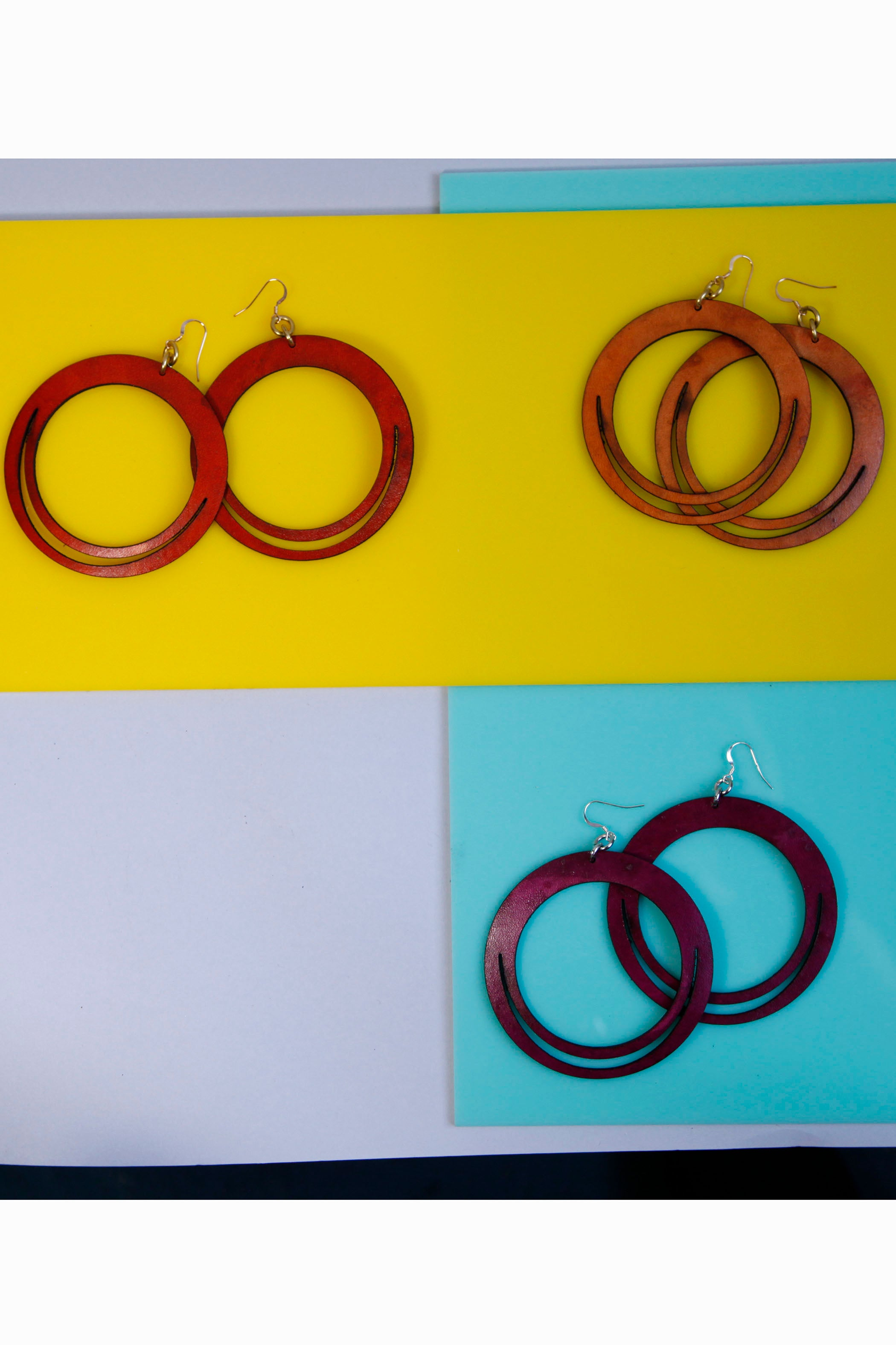 Robyn Hoop Leather Earring Gold