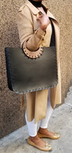 Mikelle Small Leather Bag with Wood Handle - Amber Poitier Inc.