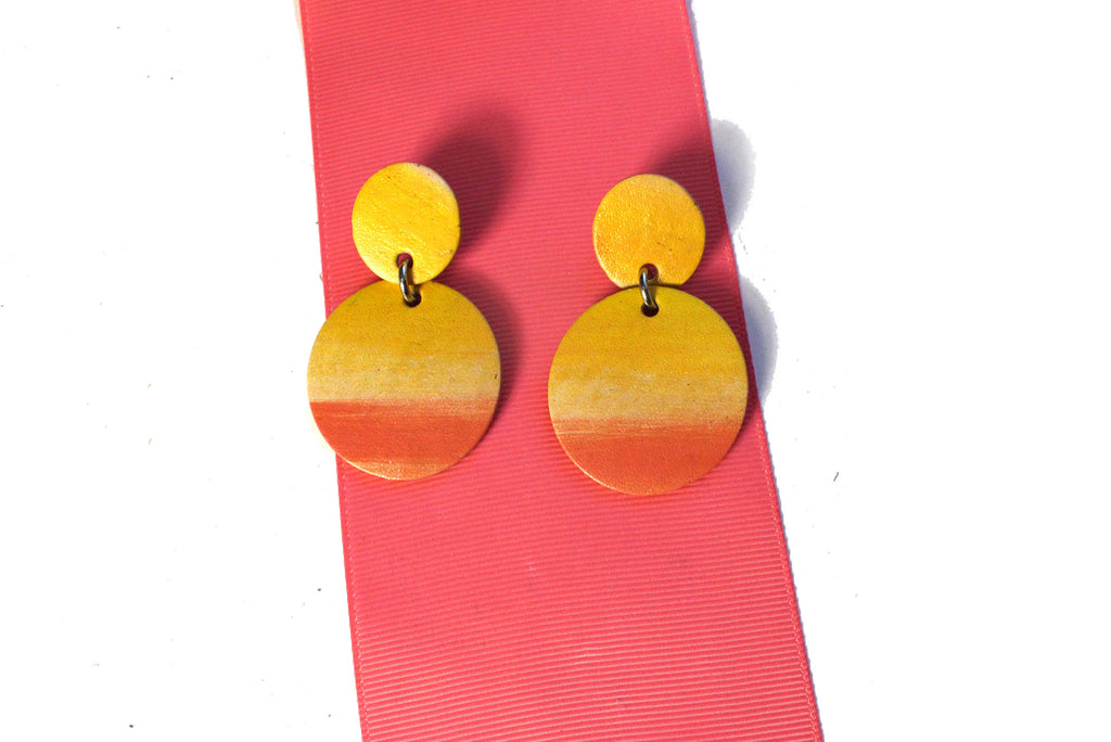 Moana Coral Vegetable Tan Leather Post Earrings