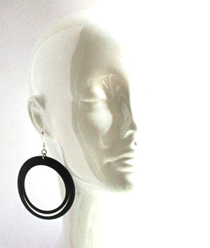 Robyn Hoop Leather Earring Black