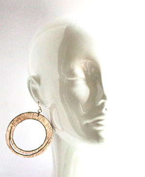 Robyn Hoop Leather Earring Rose Gold