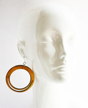 Robyn Hoop Leather Earring Yellow Ochre