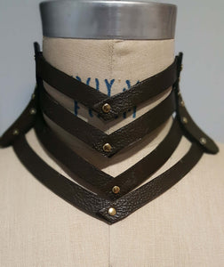 Seneca Leather Choker Deep Olive Green