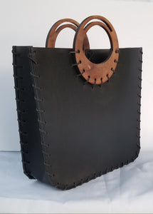 Mikelle Small Leather Bag with Wood Handle