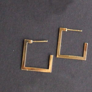 Square Stud Earring Gold Finish