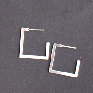 Square Stud Earring Silver Finish