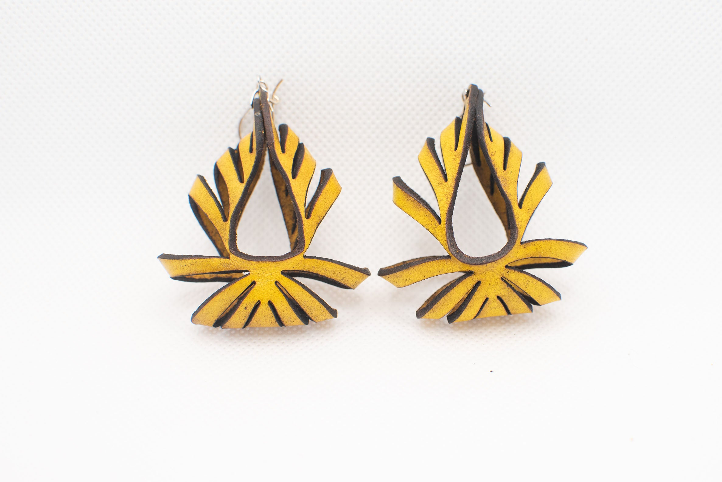 Ava Medium Leather Earrings - Yellow Ochre (Hand Dyed) - Amber Poitier Inc.