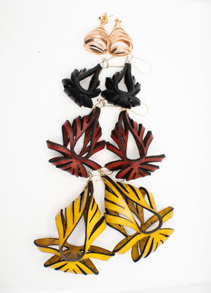 Ava Large Leather Earrings - Yellow Ochre (Hand Dyed)