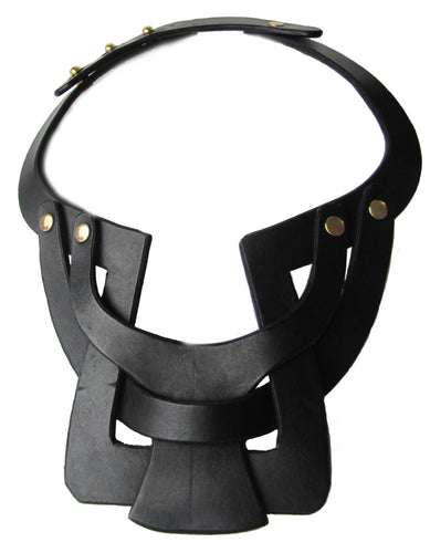 Bianca Leather necklace single layer interlocking - Black