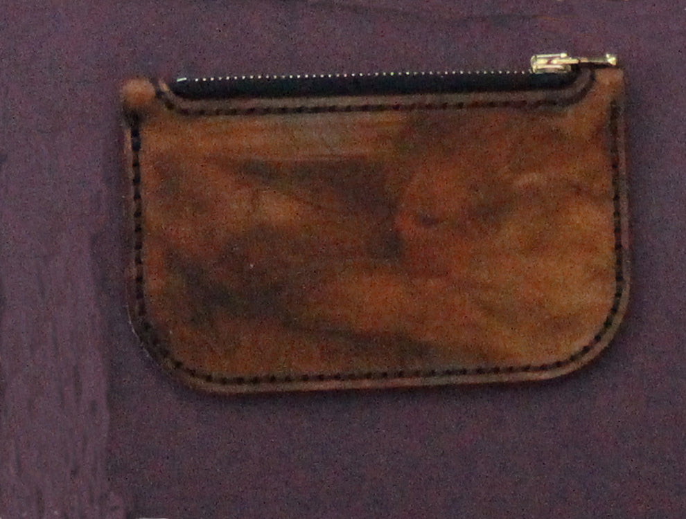 Cleopatra Zip Leather Pouch (small) Veg Tanned Leather - Antique Finish