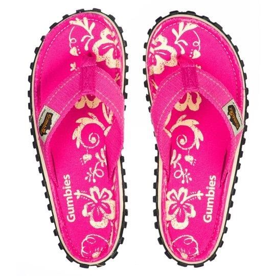 Gumbies Islander Ladies Canvas Flip Flops - Pink Hibiscus