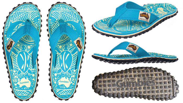 Gumbies Islander Ladies Canvas Flip Flops - Turquoise