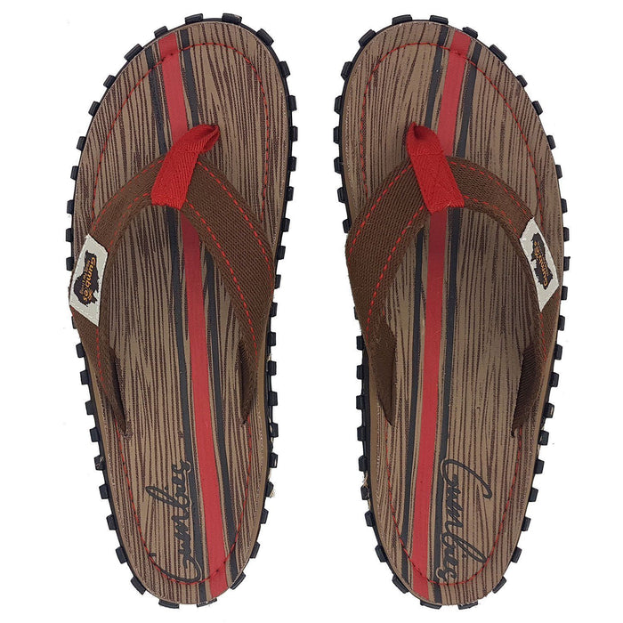 Gumbies Islander Mens Canvas Flip Flops - Woody