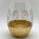 Stemless Golden Goddess Wine Glass