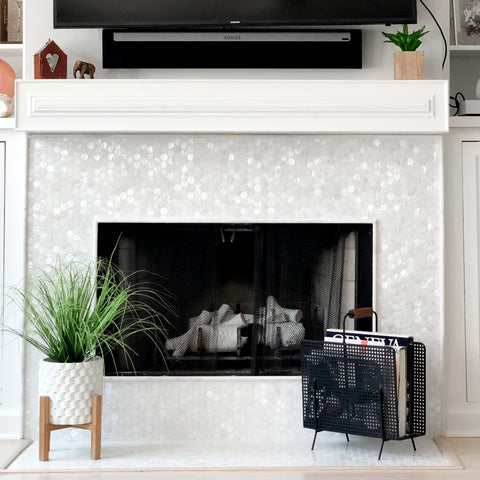 Mantle with mother of pearl tile