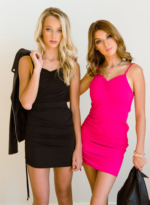 Emily and Emma Modeling the Paris dresses in Hot Pink and Black! Photos by: Shannon Rowell Photography