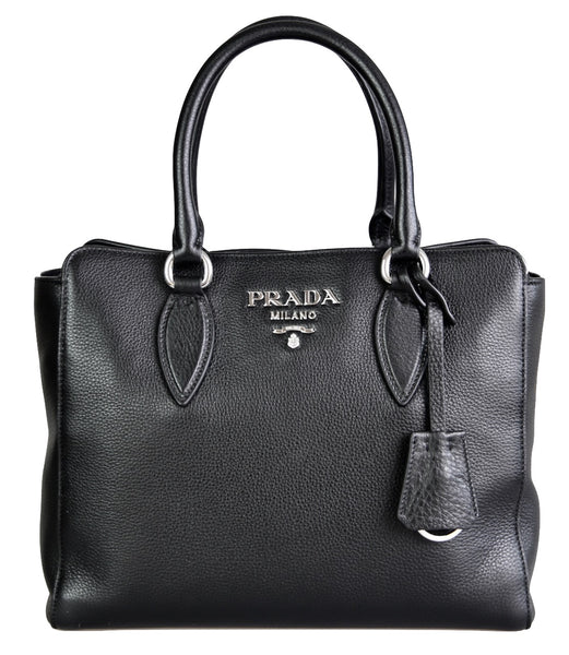 Prada Women's 1BA205 Black Leather Shoulder Bag