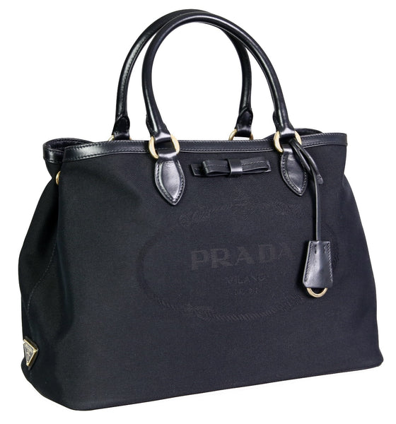 Prada Women's 1BA579 Black Fabric Shoulder Bag