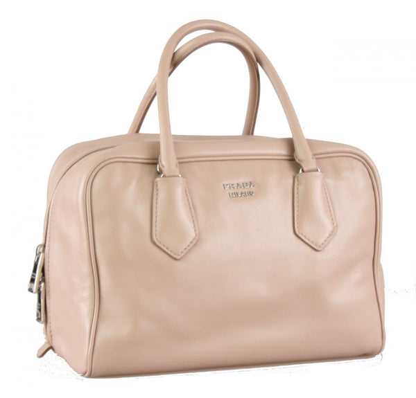 Prada Women's 1BB010 Beige Leather Shoulder Bag
