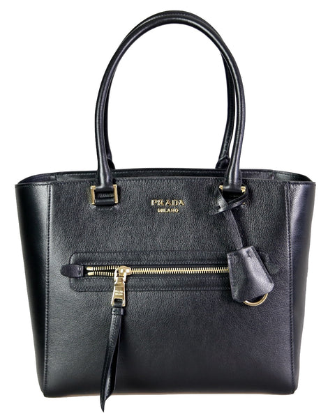 Prada Women's 1BG227 Black Leather Shoulder Bag