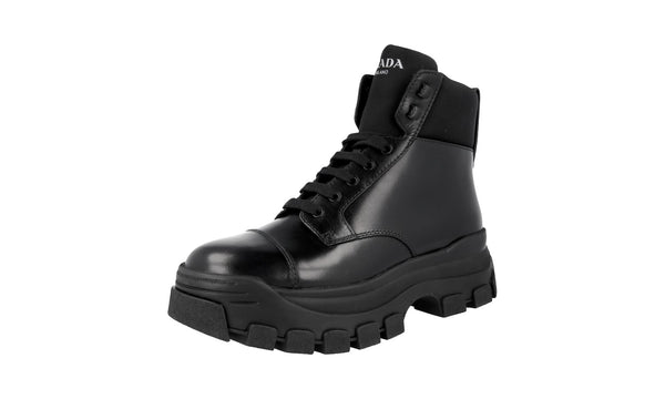 Prada Men's 2TG156 3ONL F0002 Heavy-Duty Rubber Sole Leather Half-Boot