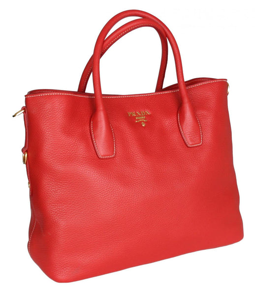 Prada Women's BN2317 Red Leather Shopper