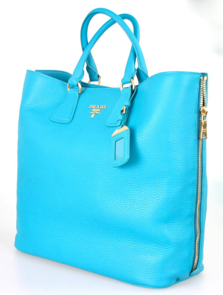 Prada Women's BN2419 Turquoise Leather Shopper