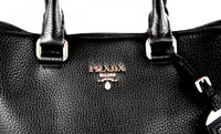 Prada Women's BN2876 Black Leather Shopper
