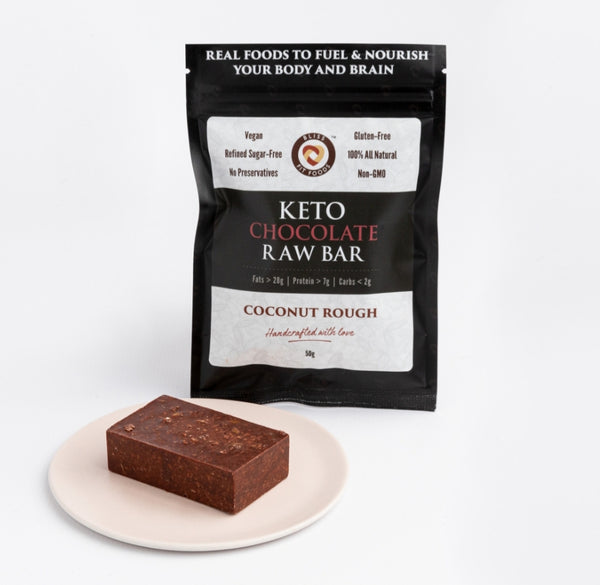 Bliss Fit Food-Keto Chocolate Raw Bar – Coconut Rough 50g(Best before 31/03/21)