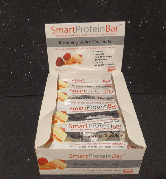 Smart Diet Solutions- (Bulk Buy 12 bars) Smart Protein Bar- Raspberry White Chocolate
