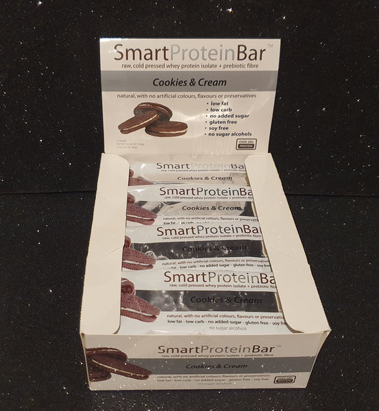 Smart Diet Solutions- (Bulk Buy 12 bars) Smart Protein Bar- Cookies & Cream