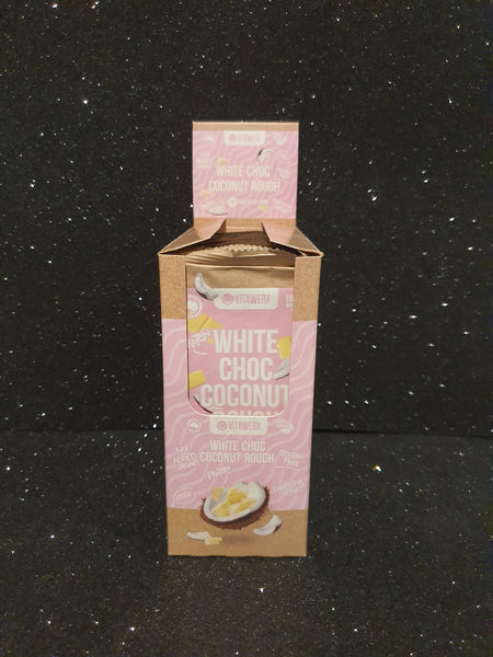 Bulk Buy-Vitawerx -White Chocolate Coconut Rough 100g Bar x12 bars
