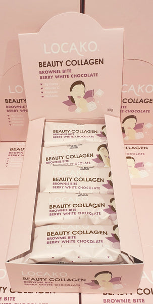 Bulk Buy Locako-Beauty Collagen Brownie Bite Berry White Chocolate 30gx15 bars