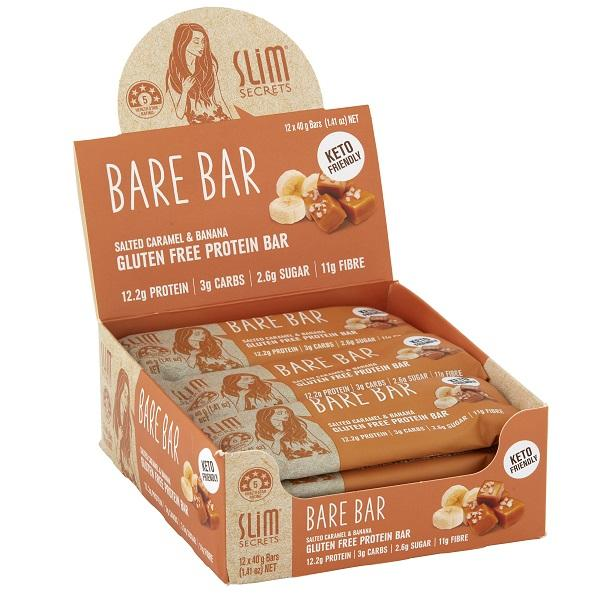 Slim Secrets - Bare Bar Salted Caramel and Banana Bulk Buy 12X40g
