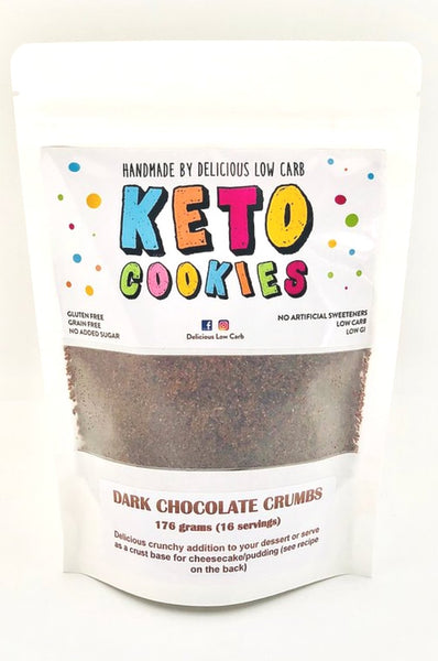 Delicious Low Carb- Keto Dark Chocolate Cookie Crumbs(176g)