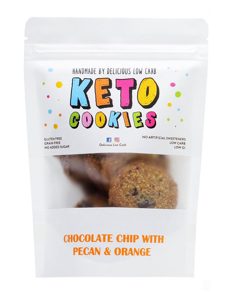 Delicious Low Carb- Keto Cookies Chocolate Chip with Pecan & Orange(100g)(Best Before 16/07/21)
