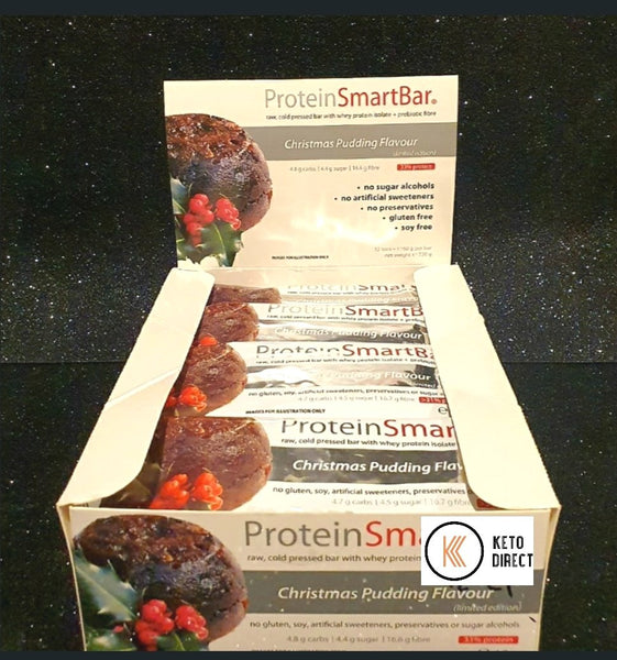 Smart Diet Solutions- (Bulk Buy 12 bars) Smart Protein Bar- Christmas Pudding